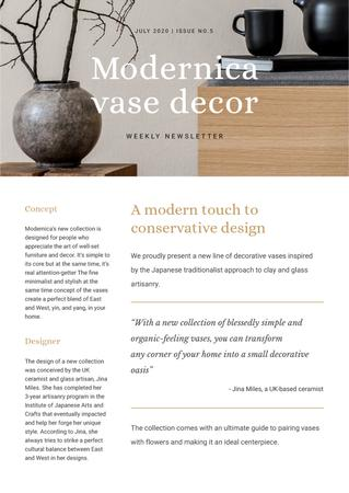 Ontwerpsjabloon van Newsletter van Home Decore Ad with Vase