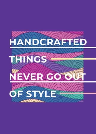 Ontwerpsjabloon van Flayer van Handcrafted things Quote on Waves in purple