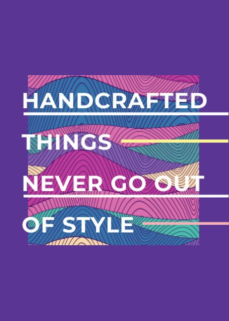 Handcrafted things Quote on Waves in purple Flayer – шаблон для дизайна