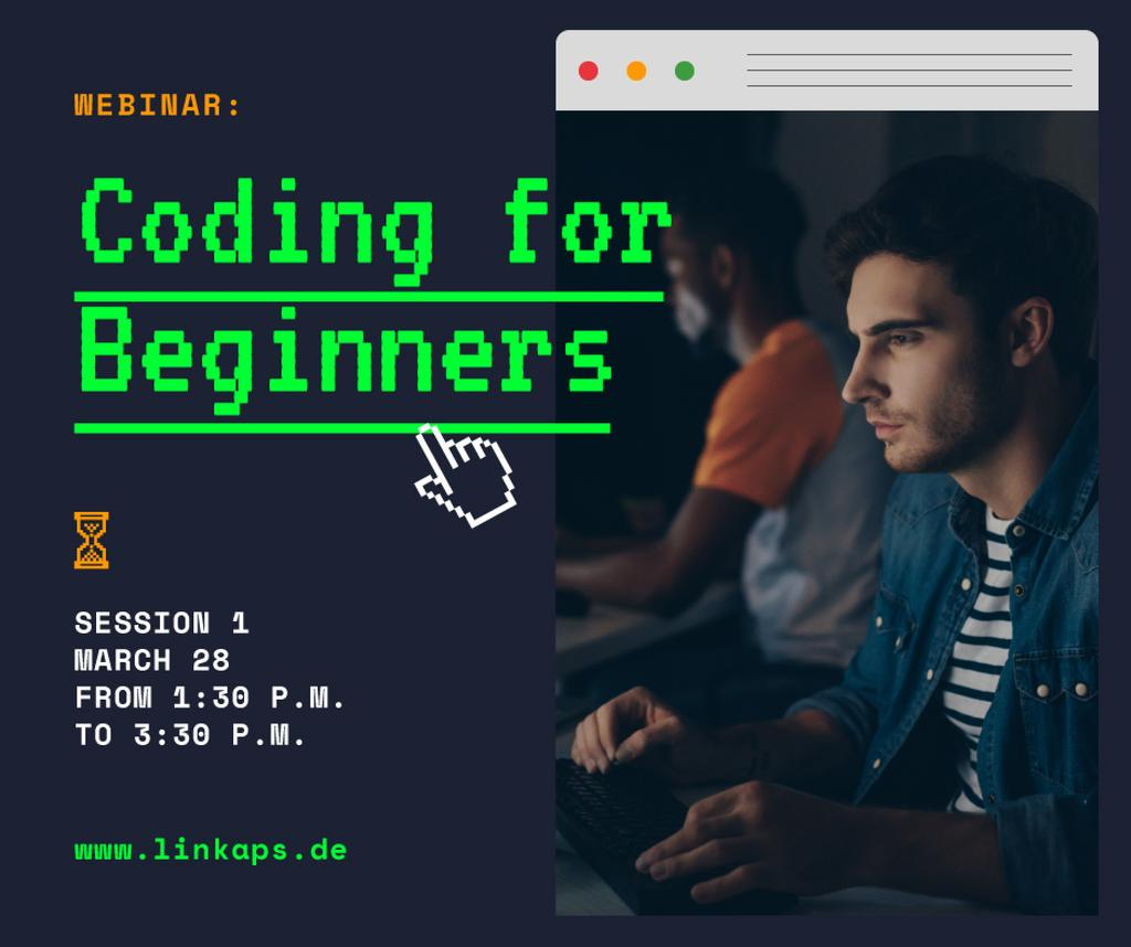 IT Courses Announcement Man Typing on Laptop — Create a Design