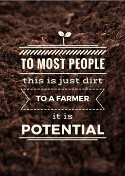 Agricultural poster with text and soil