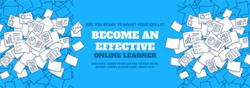 Online Learning Event Announcement Papers in Blue | Tumblr Banner Template