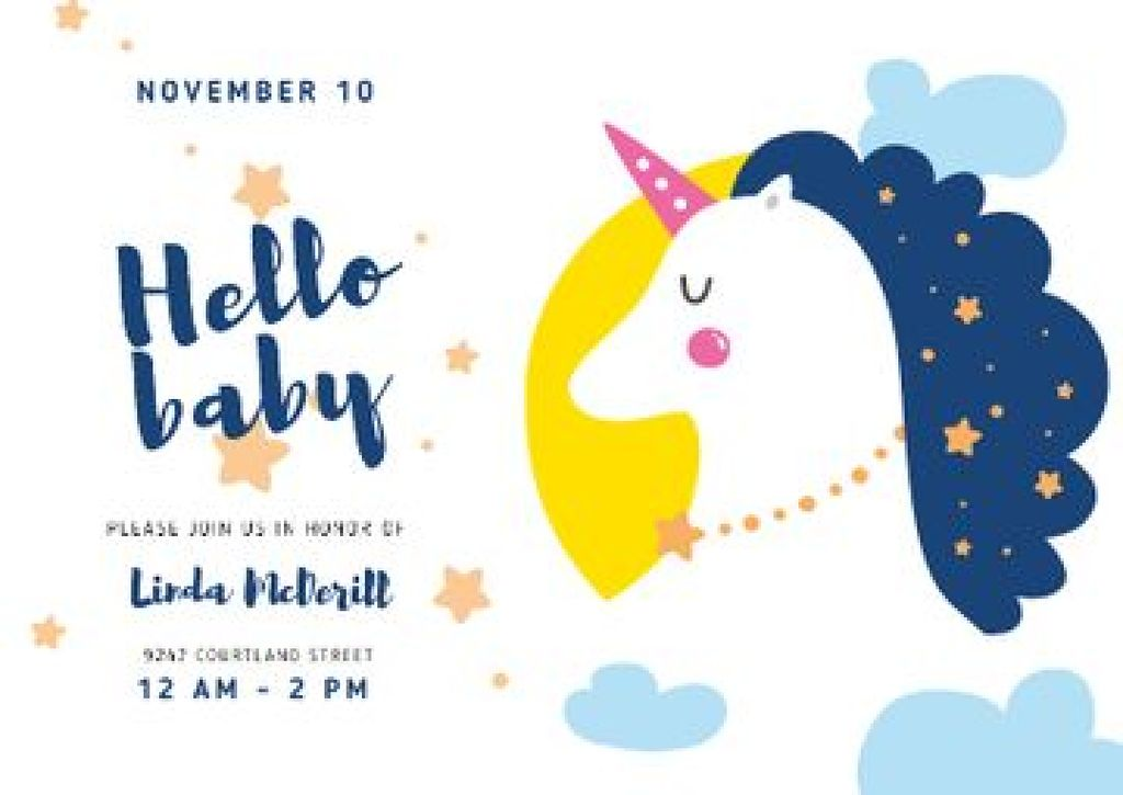 Baby Shower Invitation with Magical Unicorn — Crear un diseño