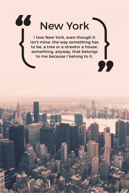 Plantilla de diseño de New York Inspirational Quote on City View Pinterest