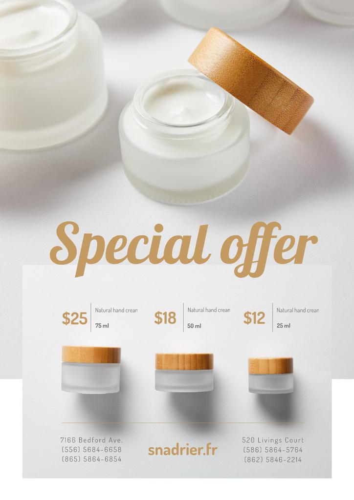 Plantilla de diseño de Natural hand Cream Offer in White Poster