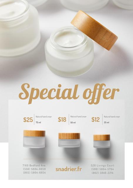 Modèle de visuel Natural hand Cream Offer in White - Poster