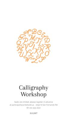 Calligraphy Workshop Announcement Letters on White Graphic Modelo de Design