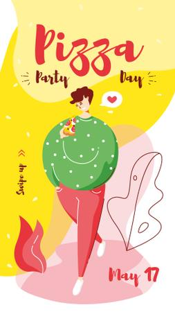 Plantilla de diseño de Woman eating Pizza on Pizza Party Day Instagram Story