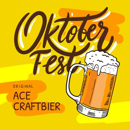 Oktoberfest Offer Lager in Glass Mug in Yellow Instagramデザインテンプレート