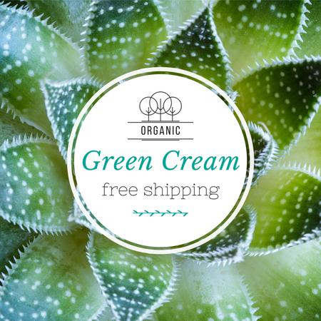 Green cream Ad with Leaves Instagram Modelo de Design