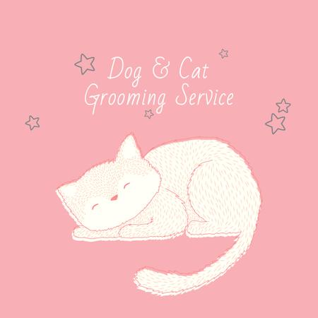 Plantilla de diseño de Grooming Service with Cute Cat Sleeping in Pink Instagram AD