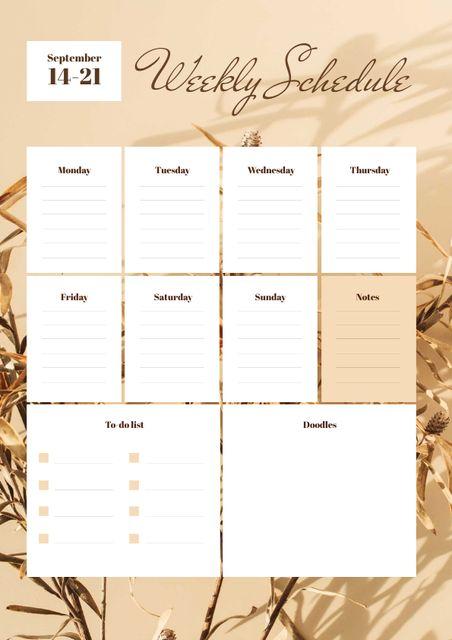 Weekly Schedule Planner on Golden Flowers Schedule Planner Design Template