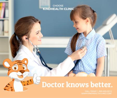 Pediatrician Examining Child in Clinic Facebook Modelo de Design
