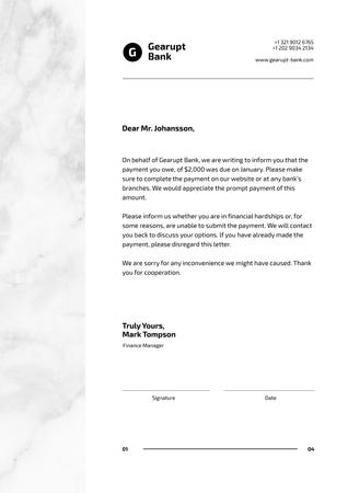 Template di design Bank payment notice Letterhead
