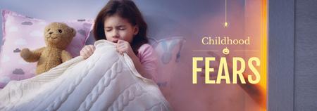 Childhood Fears Concept Scared Child in Bed Tumblr Tasarım Şablonu