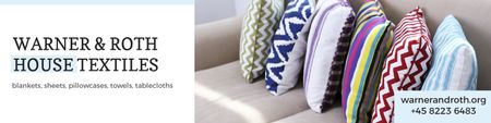 Plantilla de diseño de House Textiles Offer with Colorful Pillows Twitter