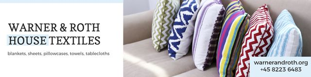 House Textiles Offer with Colorful Pillows Twitter Modelo de Design