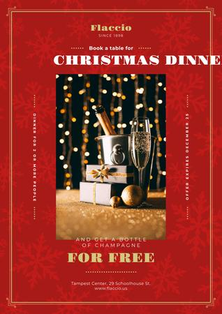 Christmas Dinner Offer with Champagne and Gift Posterデザインテンプレート