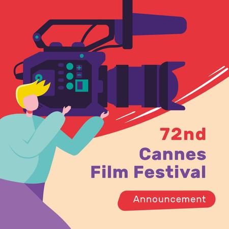 Plantilla de diseño de Cannes Film Festival with Man shooting Film Instagram