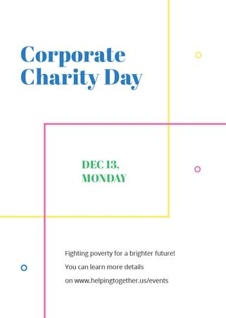 Corporate Charity Day on simple lines Invitation Modelo de Design