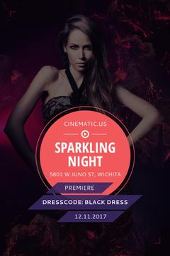 Night Party Invitation Woman in Black Dress | Pinterest Template