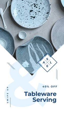 Designvorlage Kitchen ceramic tableware Sale für Instagram Story