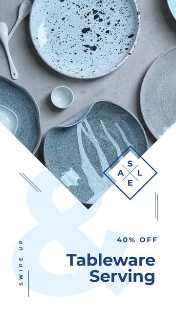 Kitchen ceramic tableware Sale Instagram Story Modelo de Design