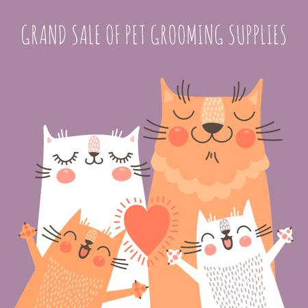 Pet grooming supplies sale with Funny Cat family Instagram AD Modelo de Design