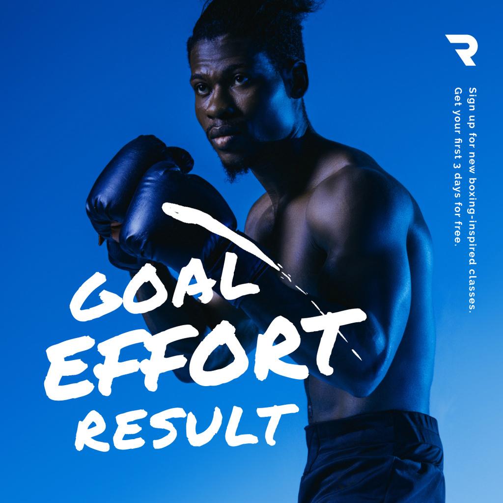Gym Ticket Offer with Man in Boxing Gloves — ein Design erstellen