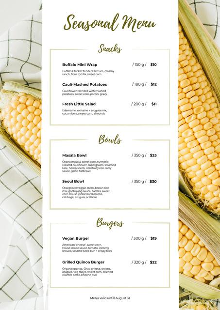 Seasonal Summer dishes Menu Design Template