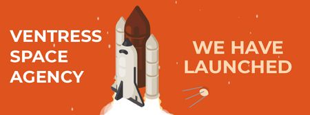 Spaceship launching into space Facebook Video cover Modelo de Design
