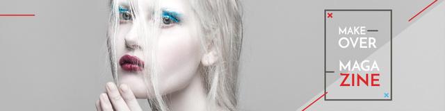 Ontwerpsjabloon van Twitter van Magazine Ad with Bright Woman