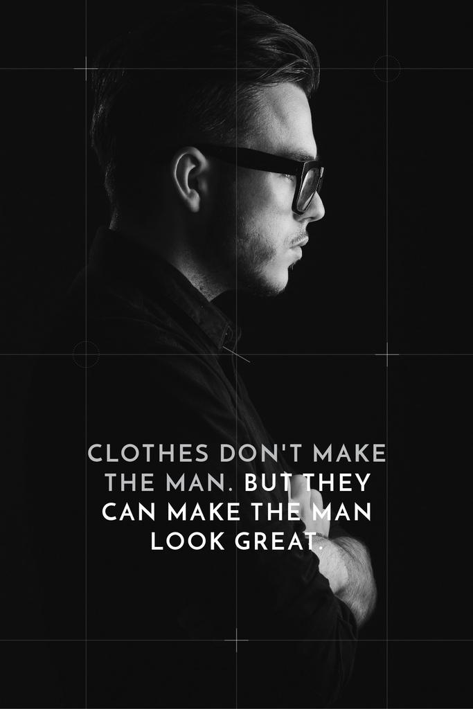 Fashion Quote with Businessman Wearing Suit in Black and White — Создать дизайн
