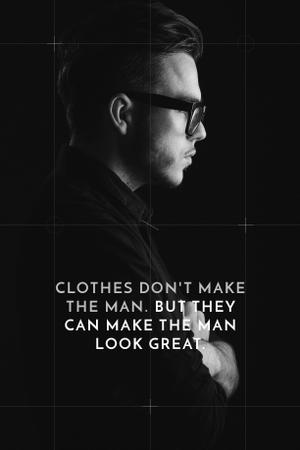 Fashion Quote with Businessman Wearing Suit in Black and White Pinterest Tasarım Şablonu