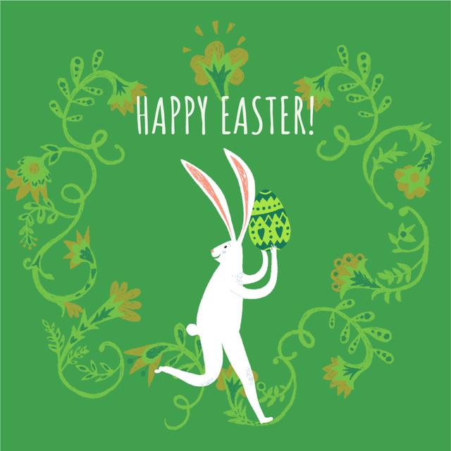 Modèle de visuel Happy Easter card with White Rabbit - Animated Post