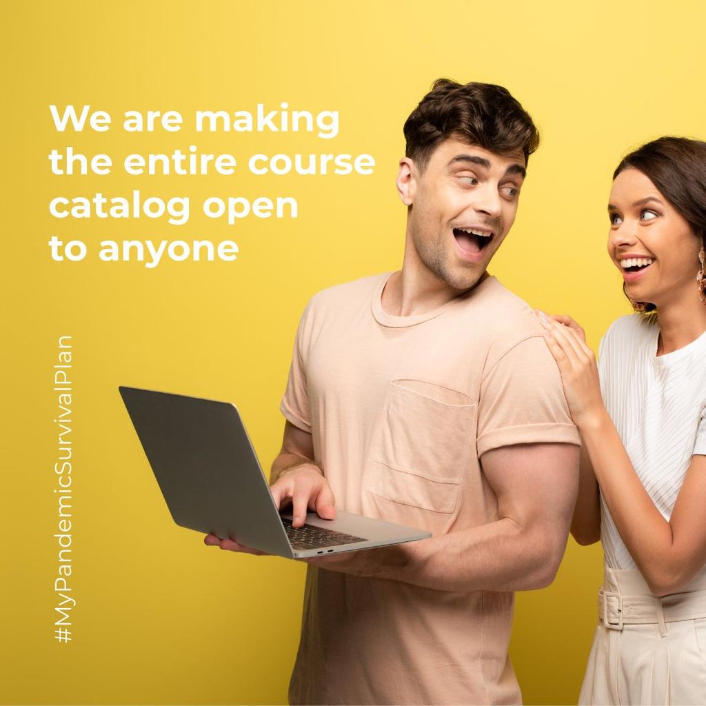 #MyPandemicSurvivalPlan with Happy Couple holding laptop Instagram Tasarım Şablonu