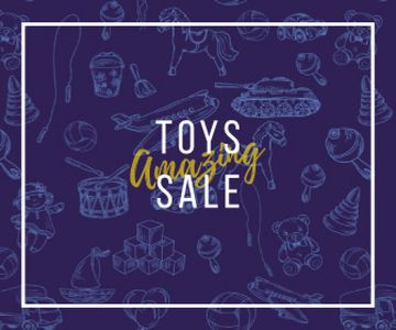 Different Kids' Toys Sale in Blue | Large Rectangle Template