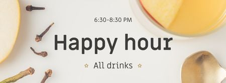 Happy Hours Offer White Mulled Wine Facebook cover Modelo de Design