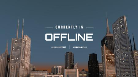 Visual illustration of Skyscrapers in City Twitch Offline Banner Modelo de Design