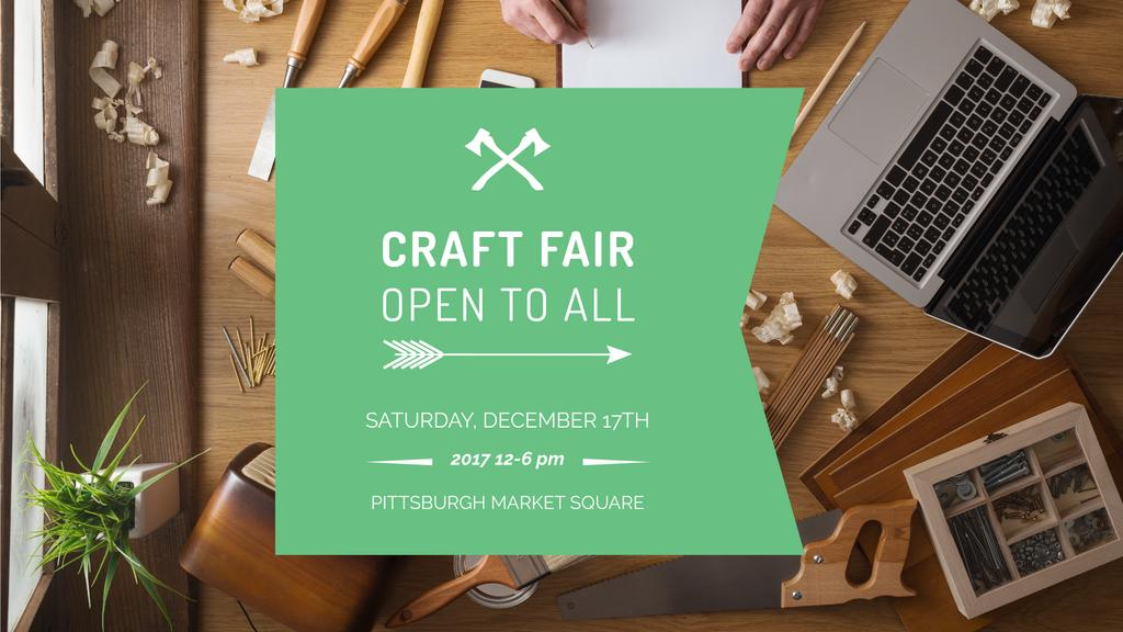 Craft Fair Announcement Wooden Toy and Tools — Create a Design