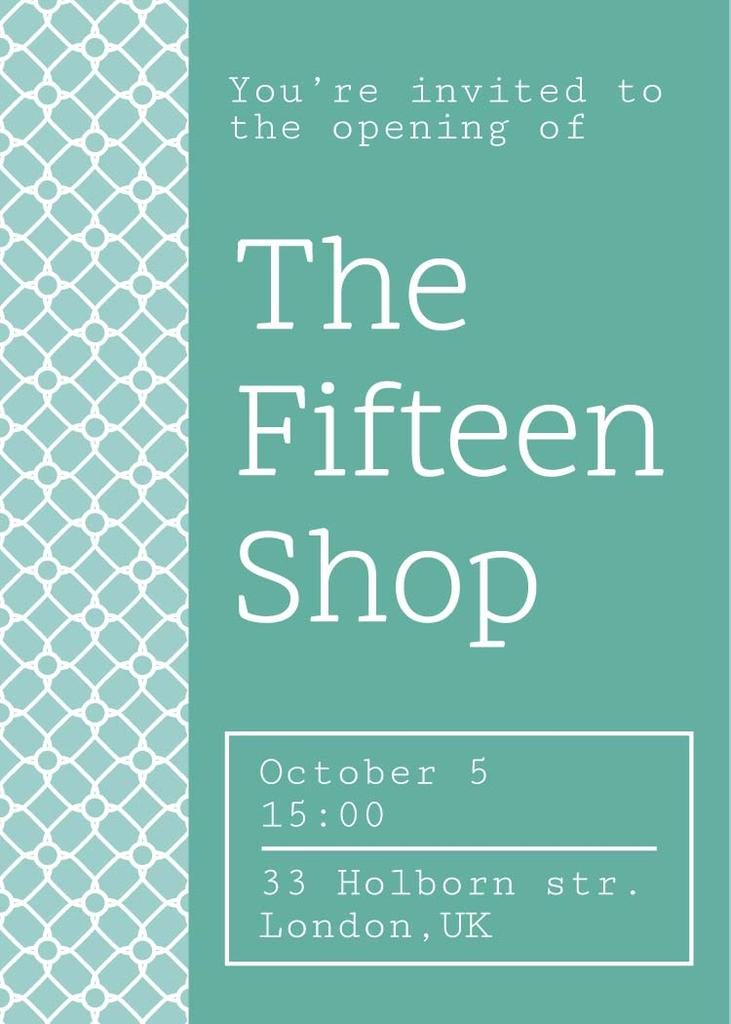 Shop opening announcement in blue Invitation – шаблон для дизайну