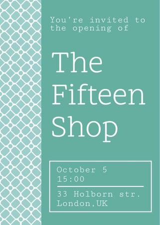 Shop opening announcement in blue Invitation Modelo de Design