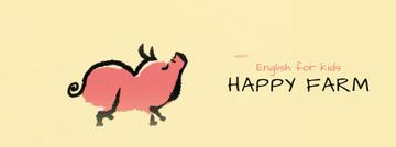 Kids Courses Ad Happy Pig Walking | Facebook Video Cover Template