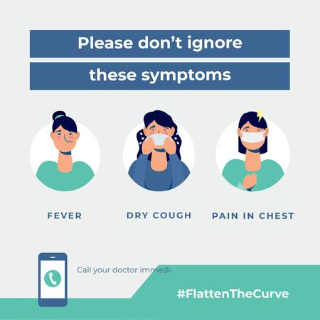 Template di design #FlattenTheCurve Plea don't ignore Virus symptoms Instagram