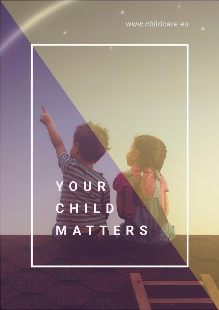 your child matters poster with two children sitting on roof — Modelo de projeto