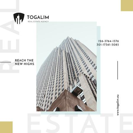 Real Estate Offer Modern Skyscraper Building Instagram AD Modelo de Design