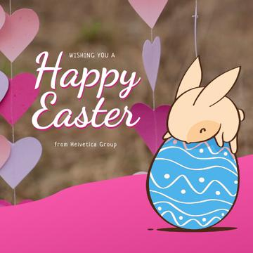 Easter Greeting Cute Bunny on Egg
