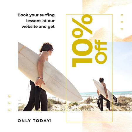 Ontwerpsjabloon van Instagram AD van Surfing Lessons Offer Men with Boards at the Beach
