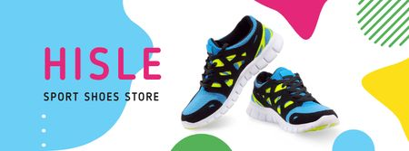Sale Offer with Pair of athletic Shoes Facebook cover Modelo de Design