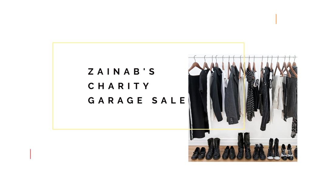 Charity Sale Announcement with Black Clothes on Hangers — Maak een ontwerp